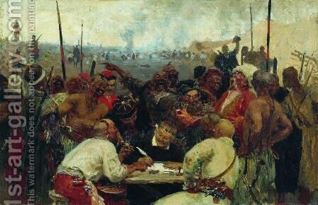 The Reply of the Zaporozhian Cossacks to Sultan of Turkey, sketch 2 by Ilya Efimovich Efimovich Repin - Reproduction Oil Painting