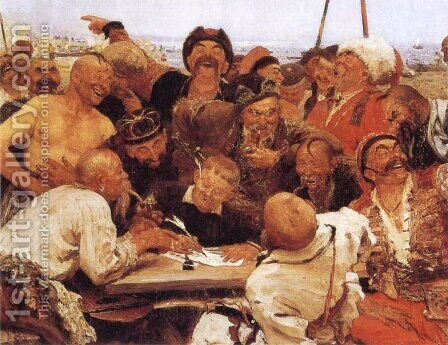 The Reply of the Zaporozhian Cossacks to Sultan of Turkey by Ilya Efimovich Efimovich Repin - Reproduction Oil Painting