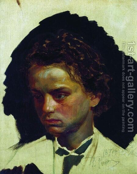 Youth portrait of sculptor Ilya Yakovlevich Ginzburg by Ilya Efimovich Efimovich Repin - Reproduction Oil Painting