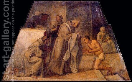 San Diego de Alcala receives the Franciscan habit by Annibale Carracci - Reproduction Oil Painting