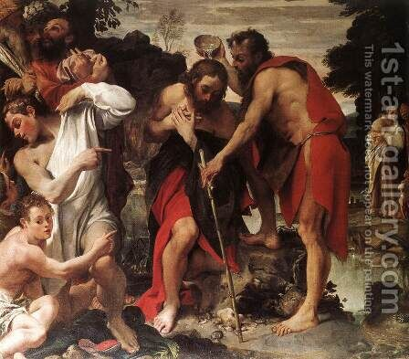 The Baptism of Christ by Annibale Carracci - Reproduction Oil Painting