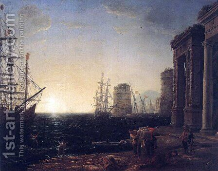 Harbour Scene at Sunset by Claude Lorrain (Gellee) - Reproduction Oil Painting