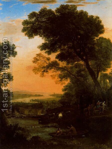 Idyllic landscape with the flight into Egypt by Claude Lorrain (Gellee) - Reproduction Oil Painting