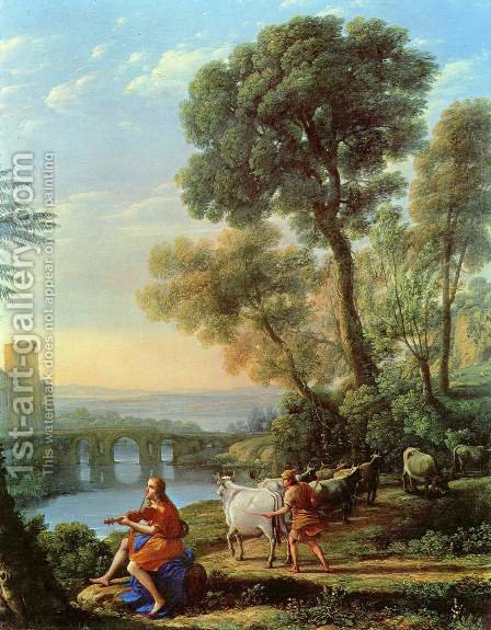 Landscape with Apollo and Mercury by Claude Lorrain (Gellee) - Reproduction Oil Painting