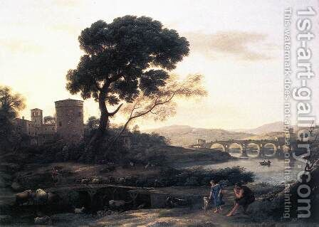 Landscape with Shepherds, The Pont Molle by Claude Lorrain (Gellee) - Reproduction Oil Painting