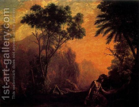 Landscape with hermit by Claude Lorrain (Gellee) - Reproduction Oil Painting