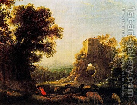 Landscape with pastors by Claude Lorrain (Gellee) - Reproduction Oil Painting