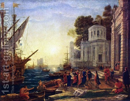 The Disembarkation of Cleopatra at Tarsus by Claude Lorrain (Gellee) - Reproduction Oil Painting