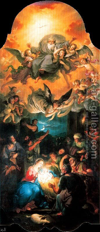 Adoration of the Shepherds with God in a glory of angels by Anton Raphael Mengs - Reproduction Oil Painting