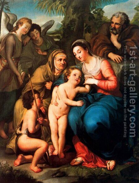 The Holy Family with St. Elizabeth, St. John the Baptist and two angels by Anton Raphael Mengs - Reproduction Oil Painting