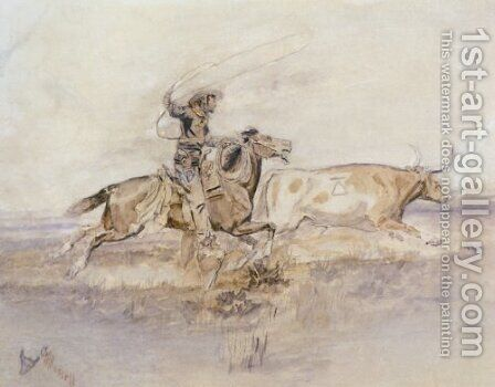 Cowboy Lassoing A Steer by Charles Marion Russell - Reproduction Oil Painting