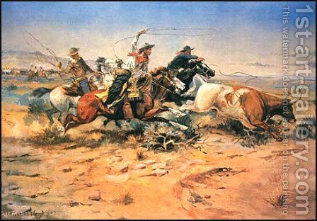Herd Quitters by Charles Marion Russell - Reproduction Oil Painting