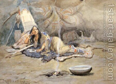 The Dreamer by Charles Marion Russell - Reproduction Oil Painting