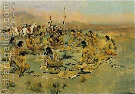 War Council on the Plains by Charles Marion Russell - Reproduction Oil Painting