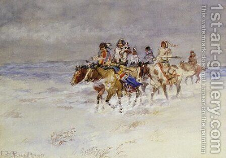 War Party In Winter by Charles Marion Russell - Reproduction Oil Painting