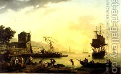 A Grand View of the Sea Shore in the Mediterranean, Enriched with Buildings by Claude-joseph Vernet - Reproduction Oil Painting