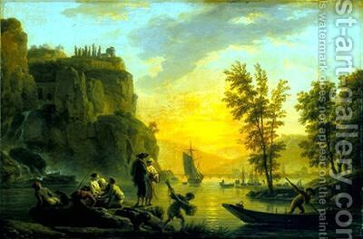A River Scene by Claude-joseph Vernet - Reproduction Oil Painting