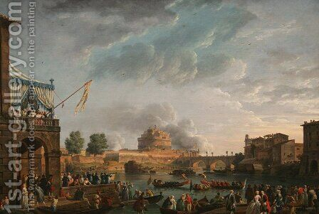 A Sporting Contest on the Tiber at Rome by Claude-joseph Vernet - Reproduction Oil Painting