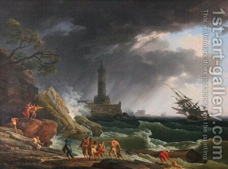 A Storm on a Mediterranean Coast by Claude-joseph Vernet - Reproduction Oil Painting