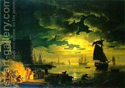 Clair de lune by Claude-joseph Vernet - Reproduction Oil Painting