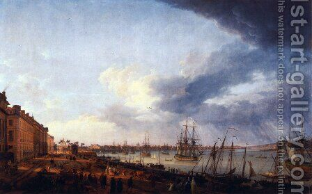 First view of the port of Bordeaux, taking the side of Salinières by Claude-joseph Vernet - Reproduction Oil Painting