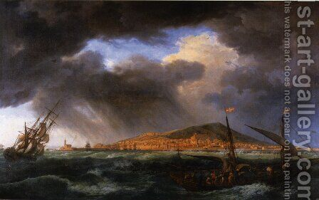 Harbour View from Cette by Claude-joseph Vernet - Reproduction Oil Painting