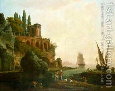 Imaginary Landscape, Italian Harbor Scene by Claude-joseph Vernet - Reproduction Oil Painting