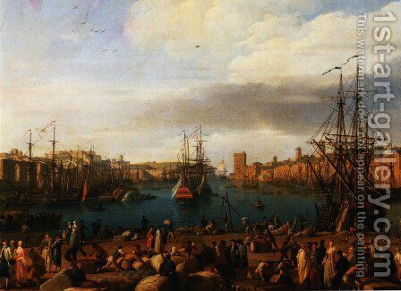 Inside the port of Marseilles by Claude-joseph Vernet - Reproduction Oil Painting