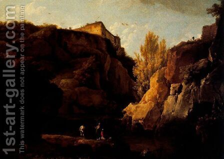 Landscape with broken rocks by Claude-joseph Vernet - Reproduction Oil Painting