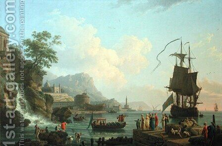 Marine and landscape on the shores of the Mediterranean by Claude-joseph Vernet - Reproduction Oil Painting
