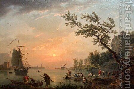 Sea port in a warm evening with the lighthouse by Claude-joseph Vernet - Reproduction Oil Painting