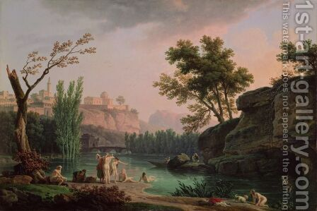 Summer Evening, Landscape in Italy by Claude-joseph Vernet - Reproduction Oil Painting