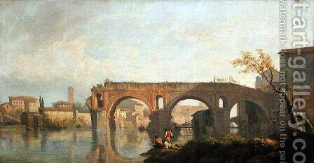 The Broken Bridge in Rome by Claude-joseph Vernet - Reproduction Oil Painting