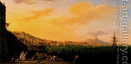 View of Naples with Vesuvius by Claude-joseph Vernet - Reproduction Oil Painting