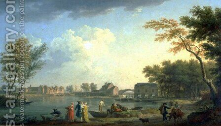 View of the Seine at Nogent-sur-Seine by Claude-joseph Vernet - Reproduction Oil Painting
