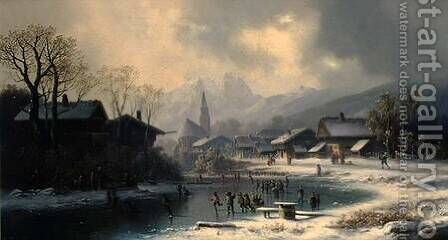 Children Skating on a Frozen River by Anton Doll - Reproduction Oil Painting