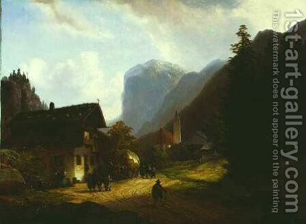 The Mountain Village by Anton Doll - Reproduction Oil Painting