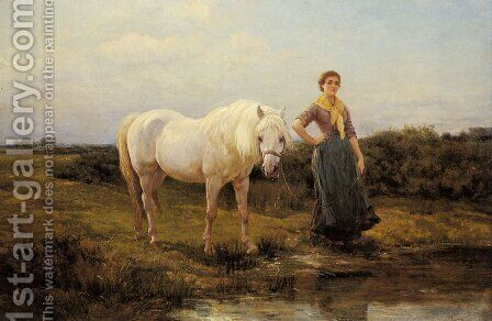 Noonday taking a Horse to Water, 1877 by Heywood Hardy - Reproduction Oil Painting