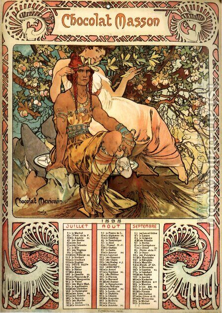 Manhood (calendar) by Alphonse Maria Mucha - Reproduction Oil Painting