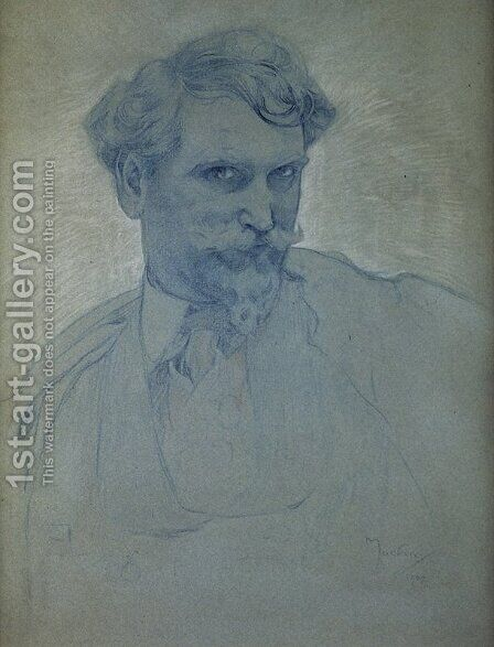 Self Portrait 2 by Alphonse Maria Mucha - Reproduction Oil Painting