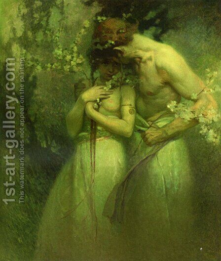 Spring Night by Alphonse Maria Mucha - Reproduction Oil Painting