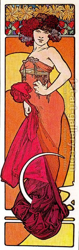 The Brunette, from Decorative Documents by Alphonse Maria Mucha - Reproduction Oil Painting