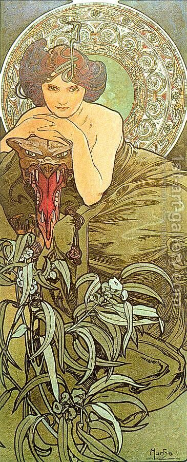 The Emerald by Alphonse Maria Mucha - Reproduction Oil Painting