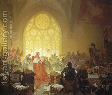 The Hussite King Jiri Z. Podebrad by Alphonse Maria Mucha - Reproduction Oil Painting