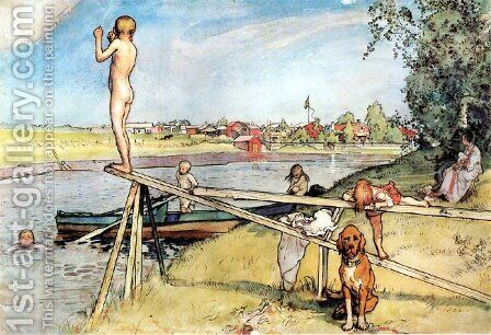 A Good Place For Swimming by Carl Larsson - Reproduction Oil Painting