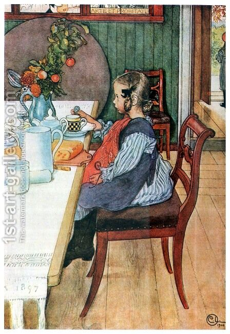 A Late Riser's Miserable Breakfast by Carl Larsson - Reproduction Oil Painting