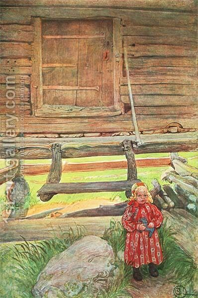 A Rattvik Girl by Wooden Storehouse by Carl Larsson - Reproduction Oil Painting