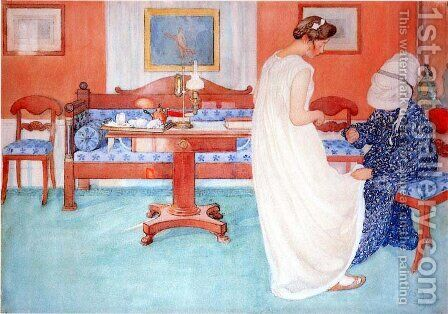 Bridesmaid by Carl Larsson - Reproduction Oil Painting