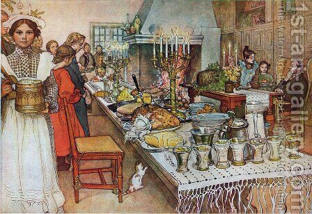Christmas Evening by Carl Larsson - Reproduction Oil Painting