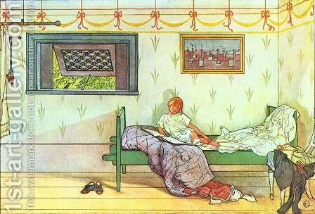 Cock-a-Doodle-Doo, Seven O'Clock! by Carl Larsson - Reproduction Oil Painting